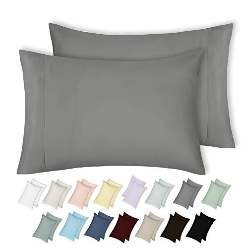 California Design Den 400 Thread Count 100% Cotton Pillow Cases, Slate Grey King Pillowcase Set of 2, Long - Staple Combed Pure Natural Cotton Pillowcase, Soft & Silky Sateen Weave