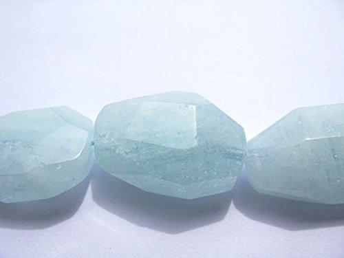 Aquamarine Faceted Nugget Bead (Genuine Aquamarine Beryl Freeform Nuggets Faceted Blue jewelry bead 15-25mm full)