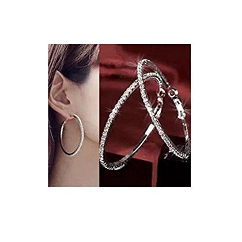 Pixel Jewelry 1985 - New 1 Pair Fashion Womens Full Crystal Rhinestone Hoop Big Circle Earring