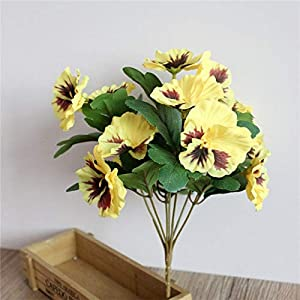 ShineBear 1x Bouquet Artificial Simulation Silk Flower Pansy Artificial Plant Wedding Party Home Hotel Table Decoration - (Color: Yellow) 78
