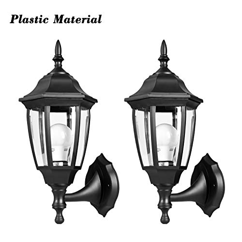 EMART Outdoor Porch Light LED Exterior Wall Light Fixtures, Special Handling Anti-Corrosion Plastic Material, Waterproof Security Lamp for Wall, Garage, Front Porch - 2 Pack