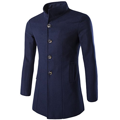 Nidicus Mens Retro Stand Collar Single Breasted Fleece Trench French Coat Navy Blue M