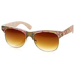 zeroUV - Womens Fashion Floral Print Flower Half Frame Horn Rimmed Sunglasses (Blue-Pink-Floral Amber)