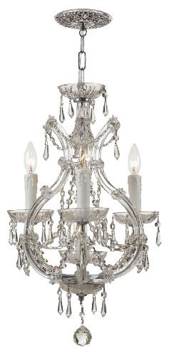 4473-CH-CL-MWP Maria Theresa 4LT Convertible Fixture, Polished Chrome Finish with Clear Hand Cut Crystal by Crystorama Lighting Group