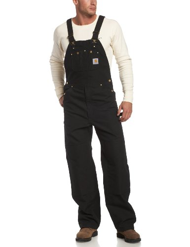 Carhartt Men's Duck Bib Overall Unlined R01,Black,34 x 32