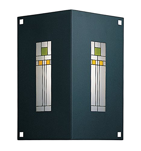 Arroyo Craftsman Sconce - Arroyo Craftsman FS-2/2C-RC Franklin 2 Sided Wall Sconce, Raw Copper Metal Finish, Yellow & Green Silk Screen Glass,
