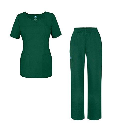 Adar Universal Women's Scrub Set - V-Neck Scrub Top and Elastic Pull-On Scrub Pants - 901 - Hunter Green - XS
