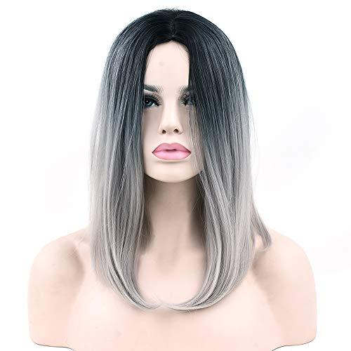Black to Green Ombre Hair Synthetic Hair Bob Wig for Black Women Straight Hair Halloween Cosplay Wigs Hair Accessories ()