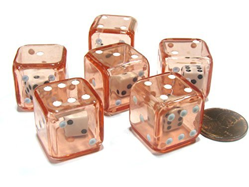 Set of 6 D6 19mm Double Dice, 2-In-1 Dice - Red Inside Clear Die by Koplow Games]()