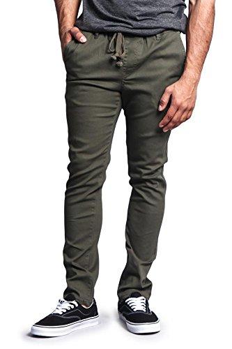 G-Style USA Mens Slant-Pocket Open Cuff Jogger Pants - Olive - Small - CC1G