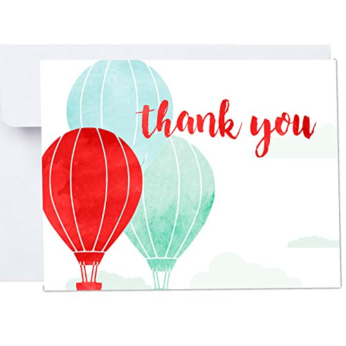 Up Up Away Hot Air Balloons Thank You Cards with Envelopes 10 Pack A2 Folded 4x5.25 in Blue Red Watercolor Print for First Birthdays, Adventure Awaits -