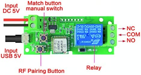 5V MHCOZY Updated WiFi Wireless Smart Switch Inching Self-locking Relay Module,Set Inching Time from 0.5 second to 10 Hours,be applied to access control,DIY WIFI Garage Door Opener