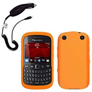 Cbus Wireless Orange Silicone Case / Skin / Cover & Car Charger for BlackBerry Curve 9310 / 9315 / 9320