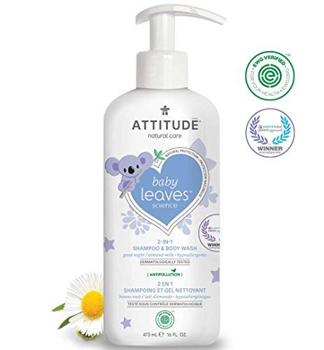 ATTITUDE Baby Leaves, Hypoallergenic 2 in 1 Shampoo & Body Wash, Almond Milk, 16 Fluid Ounce