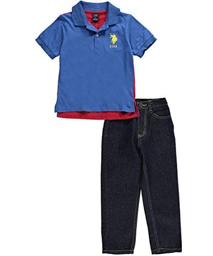 US Polo Assn Boys Royal Blue /& Red Polo 2pc Denim Pant Set