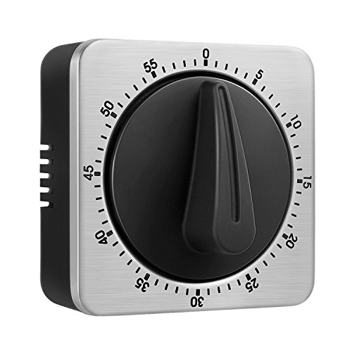Timer 60 Minute Timing with 80dB Alarm Sound Magnetic Countdown Timer Home Baking Cooking Steaming Manual Timer Stainless Steel Face Mechanical Timer (New Timer) ()