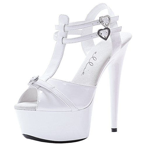 6 Inch High Heel Sandals Sexy Womens Shoes Platform Heart Sandals With T Strap Size: 10 Colors: White