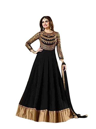 Mahavirfashion Women's Anarkali Salwar Kameez Designer Indian Dress Ethnic Party Free Size Black - Kameez Dress
