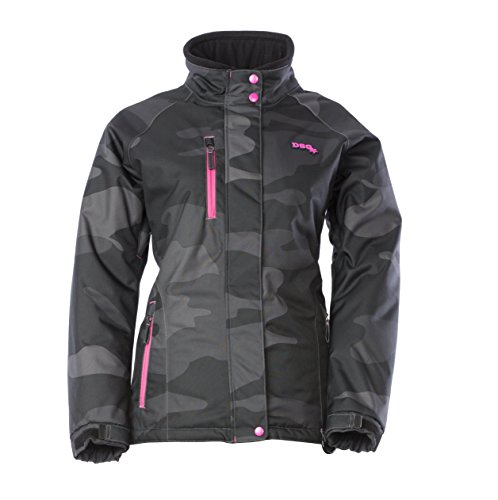 Divas SnowGear Women's Craze Jacket (Black Camo/Pink, Large)