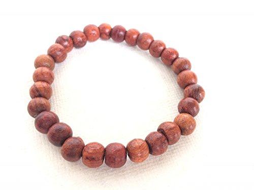 Audomna Shop Thai Mens Womens Wood Bracelet, 10mm Tibetan Beads Buddhist Prayer Dark Brown (F0047).