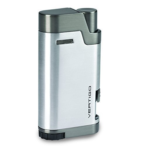 Vertigo Bullet Brushed Chrome and Gunmetal Twin Flame Torch Lighter by Roy Rose Gifts