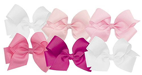 Wee Ones Girls' Medium Bow 6 pc Set Solid Grosgrain Variety Pack on a WeeStay Clip - White, Light Pink, Pearl, Hot Pink, Shocking Pink,One Size
