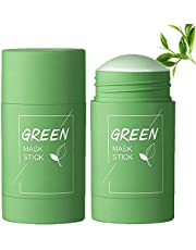 2PC Green Tea Purifying Clay Stick Mask Oil Control Anti-Acne, Blackhead Remover, Face Moisturizes Oil Control, Deep Clean Pore, Improves Skin, for All Skin Types Men Women