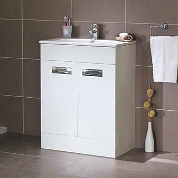600 Waschkommode Mit Waschbecken Für Badezimmer En   Luxus Armaturenlöcher  SoftClosing Weiß Kompaktes Design   Einsatz