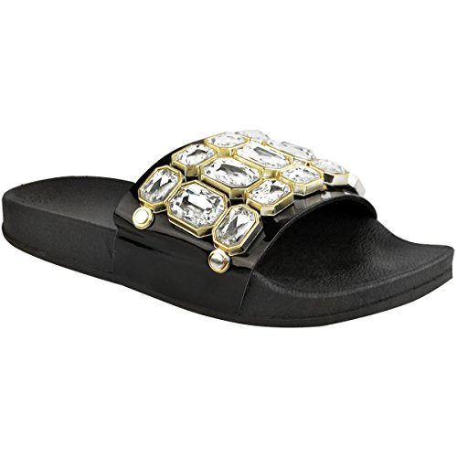 Strass Plates Femme Enfiler à de en Bijou pour Semelle Thirsty Sandales Caoutchouc Ornées Fashion Confortable Verni Noir qRFTUx