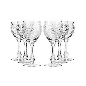 Set of 6 Neman Glassworks, 10-Oz Hand Made Vintage Russian Crystal Wine Glasses, Cut Crystal Goblets on a Stem, Old-fashioned (Cut Crystal Stem)