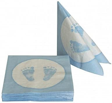20 Paper Napkins Baby Feet Footprint Boy Blue Table Decoration Baby Shower