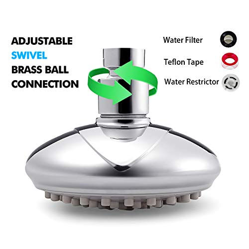 Shower Head,KZKJ High Pressure Air-Injection Rainfall Adjustable Showerheads Anti-Clog Rain Showerhead Chrome