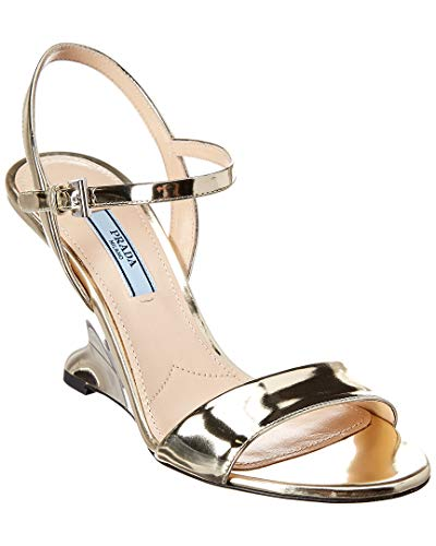 (Prada 90 Metallic Leather Wedge Sandal, 38, Metallic)