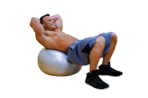 DYNAPRO Exercise Ball - 2,000 lbs Stability Ball - Professional Grade – Anti Burst Exercise Equipment for Home, Balance, Gym, Core Strength, Yoga, Fitness, Desk Chairs (Pink, 55 Centimeters) by DYNAPRO (Image #3)