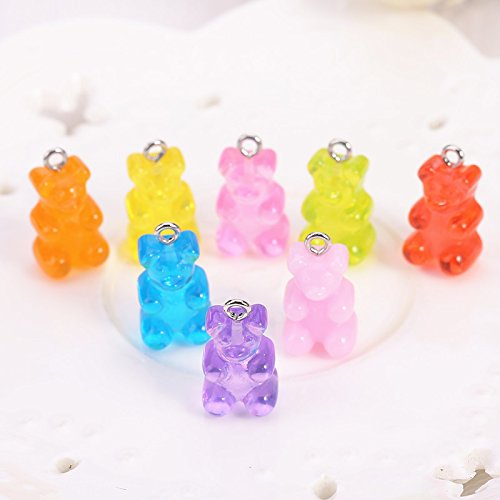20 pcs Resin gummy bear candy necklace charms cute keychain pendant necklace pendant for DIY decoration