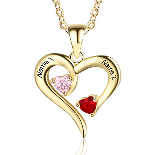 (Personalized 2 Names Simulated Birthstones Necklaces 2 Couple Hearts Name Engraved Pendants for Women £¨Gold)