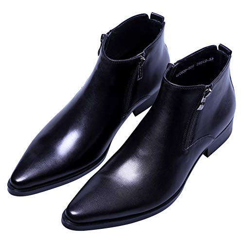 Men's Ankle Genuine Leather Dress Fashion Zipper Pointed Toe Casual Boots Black 8 M US