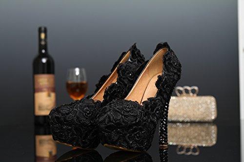 Black Compensée Femme 14cm Semelle Miyoopark 35 Noir Eu Heel qIR54f6n