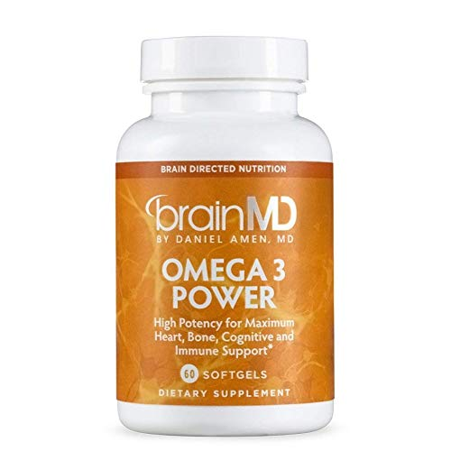 Dr Amen Brain MD Omega 3 Power - 60 Capsules - Brain, Joint, Heart, and Immune Support Supplement, Promotes Positive Mood, Contains DHA & EPA - Gluten Free - 30 Servings
