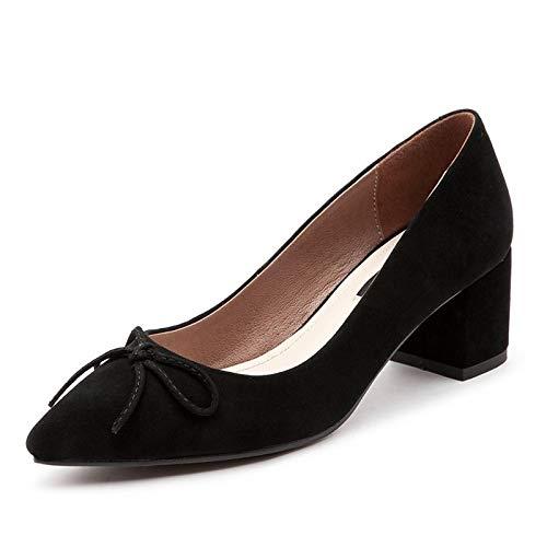 Tacones Almond Zapatos Almond de Basic Chunky ZHZNVX Black Summer Mujer Brown Pump Suede Heel 6W0OwqdO