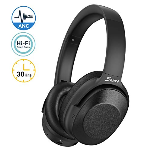 Hybrid Active Noise Cancelling Bluetooth Headphones 2019 Version , Wireless Headphones Over Ear, Soft Protein Earcups, 30-Hour Playtime, Hi-Fi Deep Bass, CVC 6.0 Microphone for Travel Work