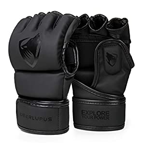 Liberlupus MMA Gloves, UFC Boxing Fight Gloves MMA Mitts with Adjustable Wrist Band for Sanda Sparring Punching Bag Training