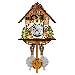 YAYONG Antique Wooden Cuckoo Wall Clock Bird Time Bell Swing Alarm Watch Home Art Decor 12x23x5cm