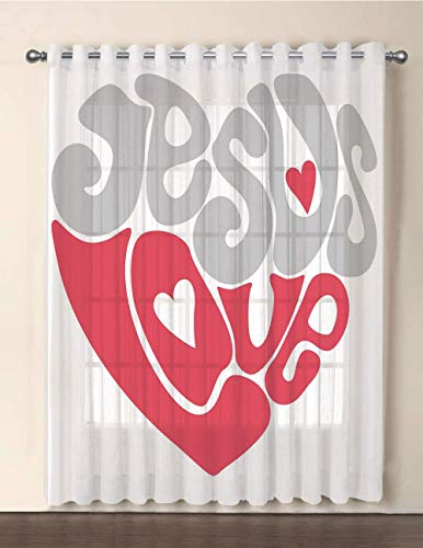 One Panel Extra Wide Sheer Voile Patio Door Curtain,Grey and Pink,Retro Letters Love Sixties Style Calligraphy Froming a Heart Shape,Pale Grey Dark Coral,for Sliding Doors(108