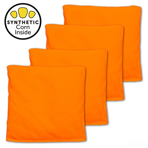 All Weather Cornhole Bags - Set of 4 Bean Bags for Corn Hole Game - Orange