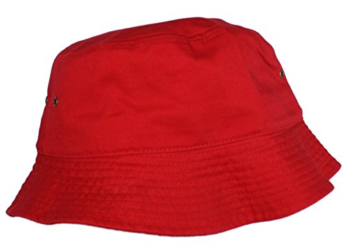 Ted and Jack - Beachside Solid Cotton Bucket Hat in Red size (Monochrome Halloween Costume)