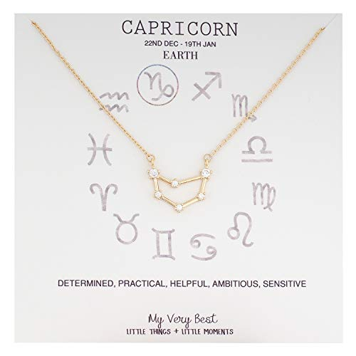 Zodiac Sign Capricorn - My Very Best Horoscope Constellation Zodiac Sign Necklace (Capricorn (Dec 22 - Jan 19)_Gold Plated Brass)