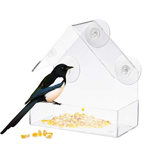 Window Bird Feeder Triangle Bird Cage Hanging Acrylic Birdhouse with Suction Cup for Outdoor Wild Bird,Like Cardinals,Hummingbird,Finch - Weather Proof, Easy Clean