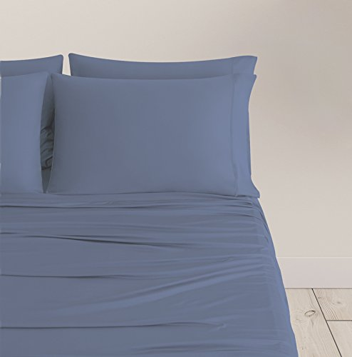 SHEEX BREEZY COOLING Sheet Set with 2 Pillowcases, Ultra-Lightweight, Breathable, Silky-Soft Fabric for a Cool and Comfortable Night's Sleep, Light Blue (King)