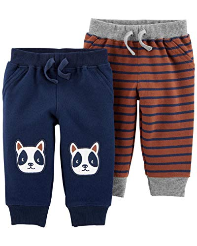 Carter's Baby Boys 2 Pack Pants, French Bulldog/Stripe, 9 Months